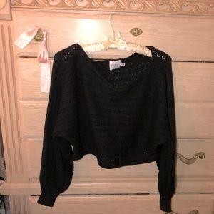 Princess Polly Black Crop Knit sweater